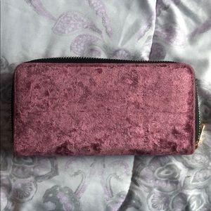 Pink/Purple velvet wallet
